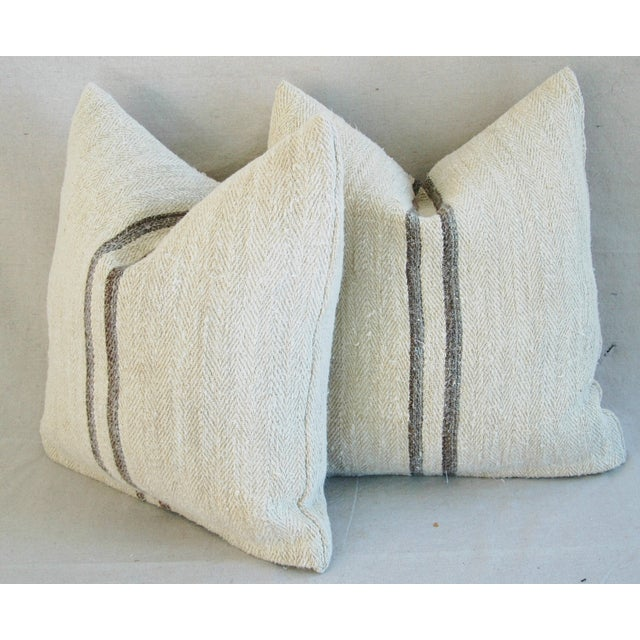 French Grain Sack Pillows - A Pair - Image 10 of 11