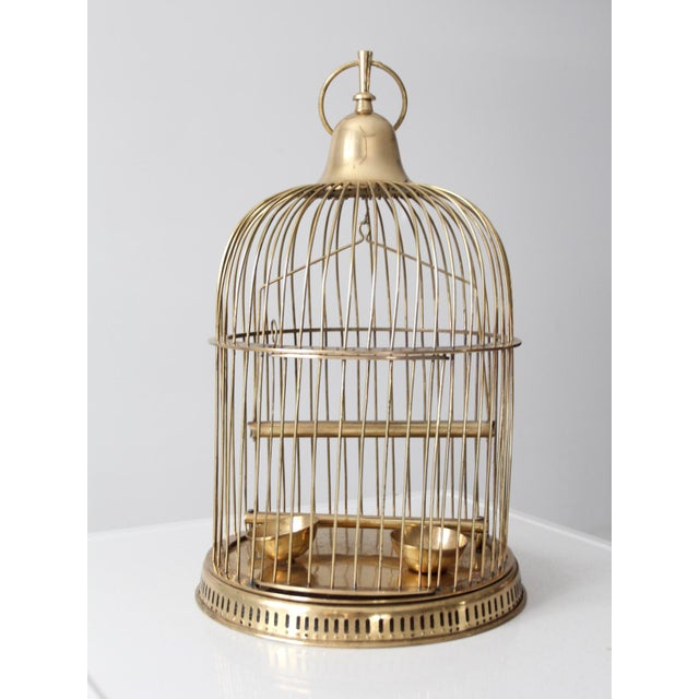 Vintage Brass Bird Cage For Sale - Image 6 of 10