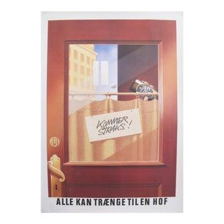 Original 1980's Danish Design Poster, 'Back Soon!'