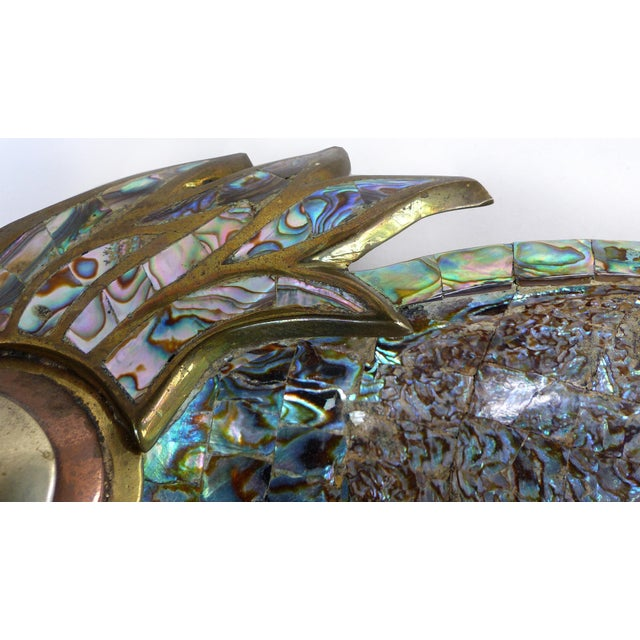 1960s Los Castillo Mexican Mid-Century Modern Mixed Metal and Abalone Parrot Tray For Sale - Image 5 of 13
