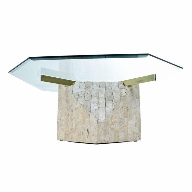 Maitland-Smith Style Brass & Glass Tessellated Stone Pedestal Coffee Table For Sale - Image 4 of 10