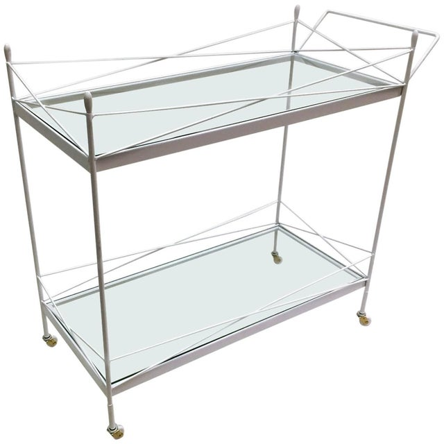 Mid-Century Bent Steel Bar Cart - Image 1 of 6