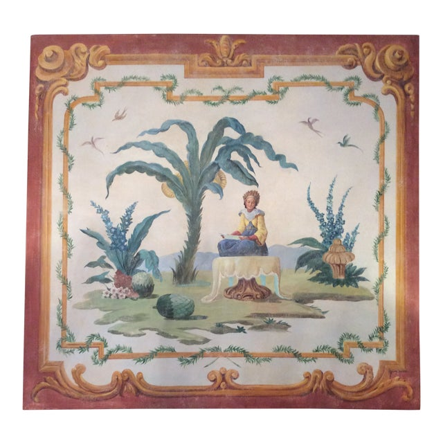 1950s Vintage Huge Hand-Painted Fresco Painting For Sale