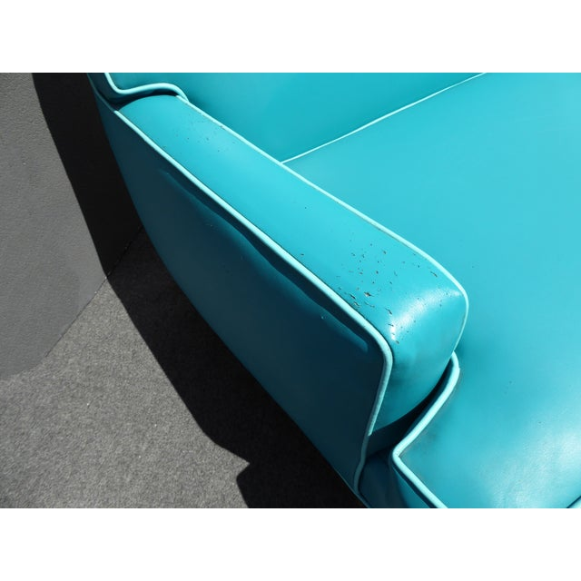 Mid-Century Turquoise Vinyl Sofa - Image 6 of 11