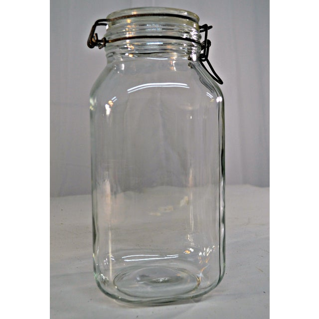 Transparent Ermetico Italian Clear Glass Canister For Sale - Image 8 of 10