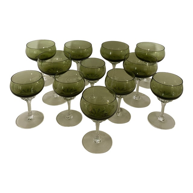 Green Twisted Stem Coups and After-Dinner Crystal Glasses - Set of 12 For Sale