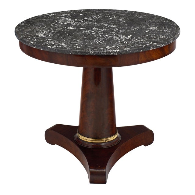 Empire Period Gueridon Table With Gray Marble Top For Sale - Image 9 of 9