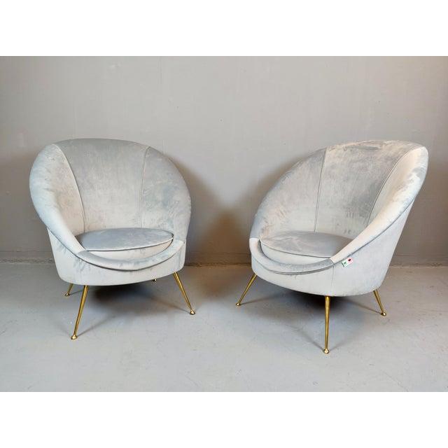 Pair of Italian Mid-Century Armchairs, New Upholstery