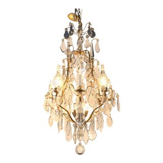 French Gilt and Bronze Crystal 11-Light Chandelier For Sale