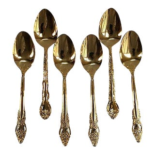 Vintage Baroque Style Gold Spoons - Set of 6 For Sale