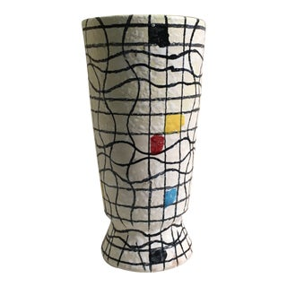 Italian Mid-Century Modern Mondrian Style Hand Painted Ceramic Vase For Sale