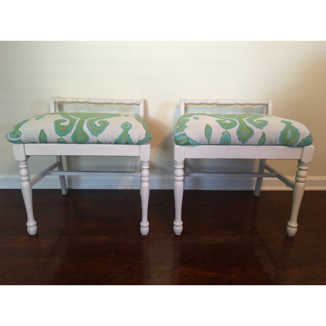 Ikat Upholstered Bench Ottomans - A Pair - Image 2 of 4