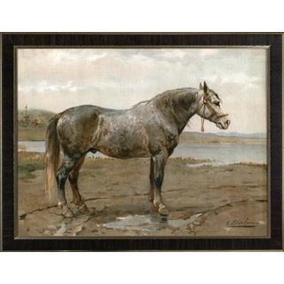 Russian Work Horse by Eerelman Framed in Italian Wood Vener Moulding For Sale