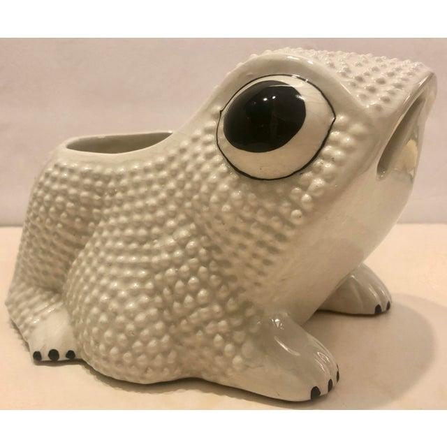 Italian Italian Ceramic Frog Planter For Sale - Image 3 of 9