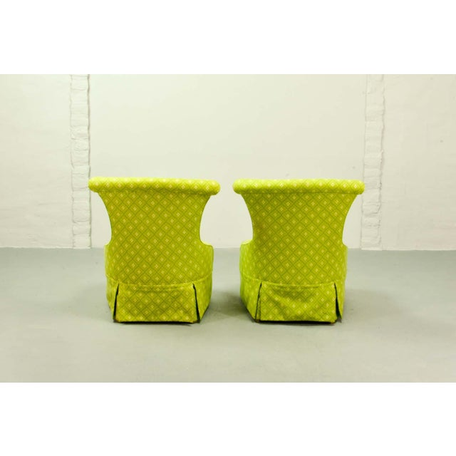 Early 20th Century Fine pair of French Design Napoleon III Style Lime Green Boudoir / Slipper Chairs, 1900s For Sale - Image 5 of 12