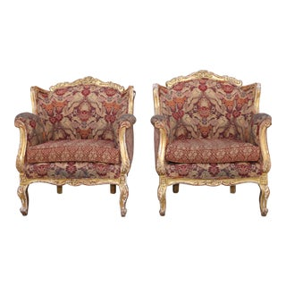 1940s Vintage French Carved Gold Leaf Arm Chairs- A Pair For Sale