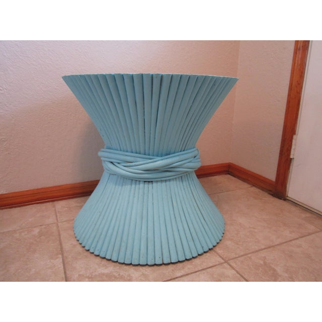Vintage Sheaf of Wheat Blue Rattan Table Base - Image 11 of 11