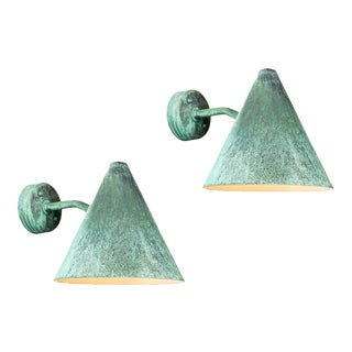 Hans-Agne Jakobsson 'Tratten' Patinated Copper Outdoor Sconces - a Pair For Sale