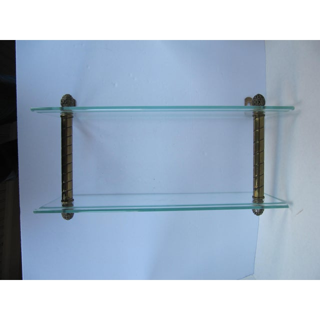 Traditional Vintage Glass and Brass Shelf For Sale - Image 3 of 8