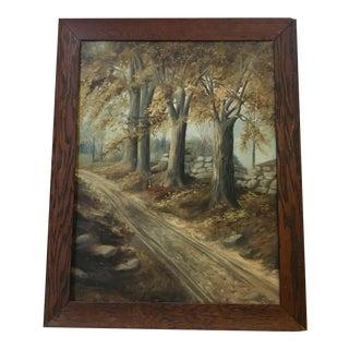 1950s Vintage Newton Framed Landscape Painting For Sale