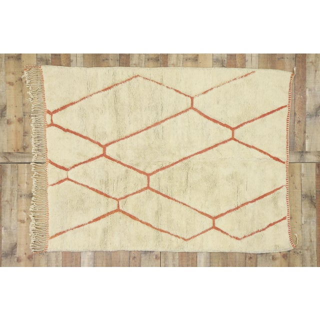 Beige Organic Modern Style Berber Moroccan Rug - 05'05 X 07'02 For Sale - Image 8 of 10