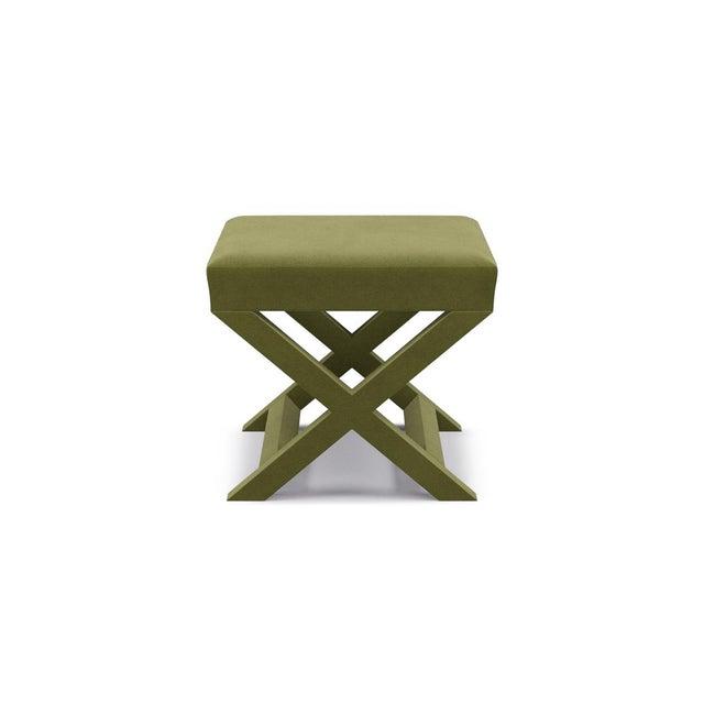 The Inside X Bench in Moss Velvet For Sale - Image 4 of 4