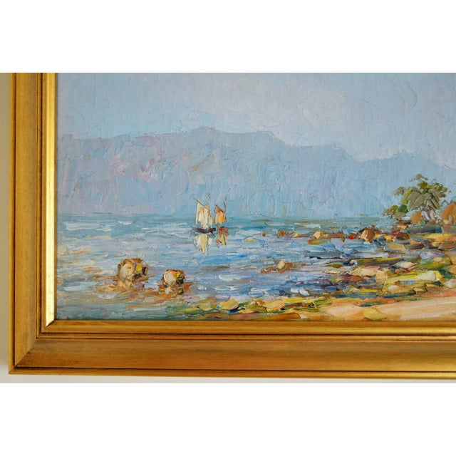 1950s Blue Water Landscape Oil on Canvas Painting Plein Air Gold Frame For Sale - Image 5 of 12
