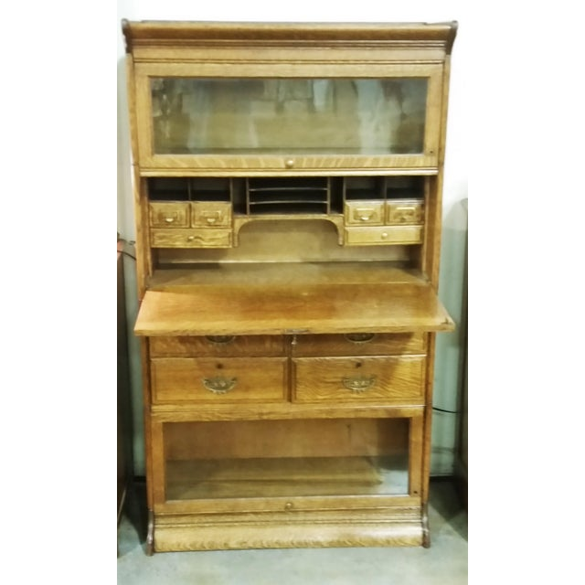 Wonderful quarter sawn oak (tiger) lawyer's barrister bookcase with desk  and drawers. This - Vintage American Oak Lawyers Barrister Bookcase / Desk Chairish