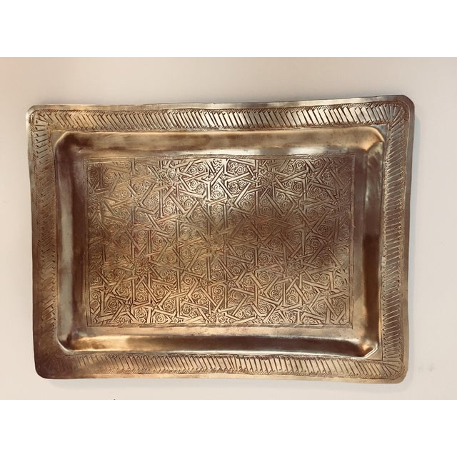 Spanish Moorish Rectangular Brass Tray For Sale - Image 12 of 12