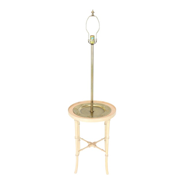 Fredrick Cooper Chicago Faux Bamboo White Wash Finish Brass Table Lamp For Sale