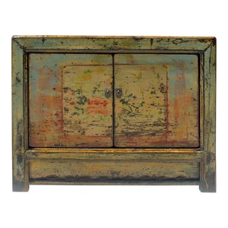 Chinese Gansu Style Distressed Pale Blue Yellow Flower Console Cabinet For Sale