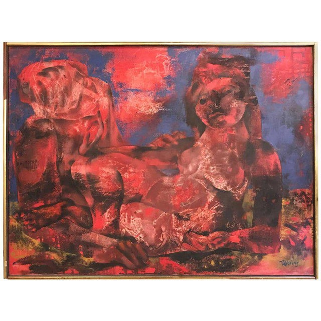 "Joseph Wolins ""Two Figures II"" Painting For Sale - Image 11 of 11"
