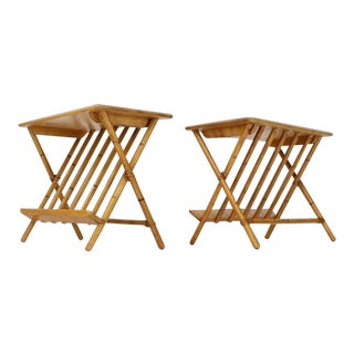 1960s Mid-Century Modern Faux Burnt Bamboo X-Base Side Tables - a Pair For Sale