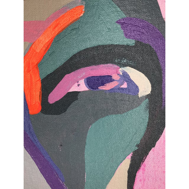 """Contemporary Abstract Portrait Painting """"Hero Lady, No. 3"""" - Framed For Sale In Detroit - Image 6 of 10"""