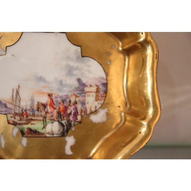 18th Century Gilded Collectible Antique Porcelain Plate Meissen, 1720s For Sale - Image 4 of 10