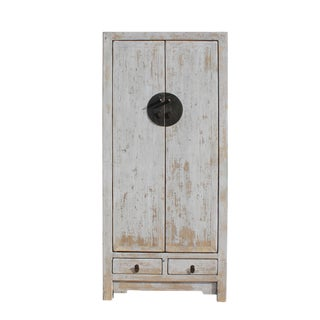 Oriental Distressed Rough Off White Slim Storage Wedding Cabinet For Sale