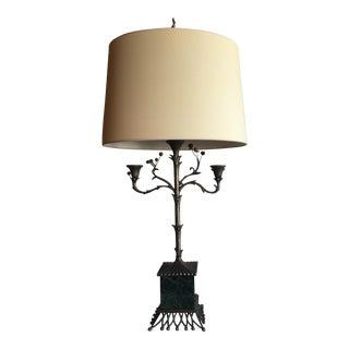 Vintage Chapman Marble & Antique Zinc Finish Table Lamps - A Pair