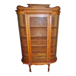 Antique Curved Glass Golden Oak on Feet Carved Pediment China Cabinet For Sale