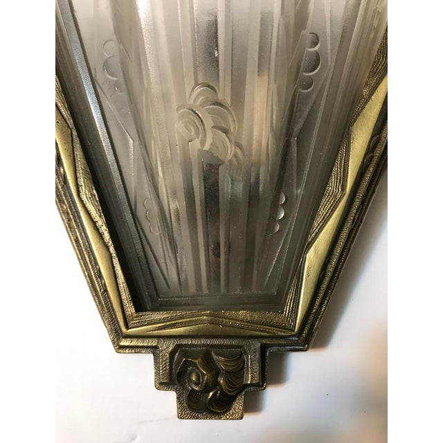 Early 20th Century French Art Deco Geometric Sconces Signed by Gilles - A Pair For Sale - Image 5 of 10