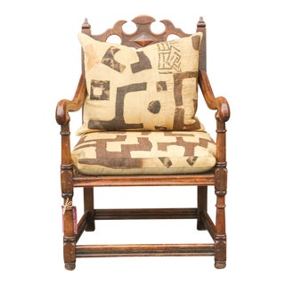 English Jacobean Club Chair W/ Mud Cloth Seat For Sale