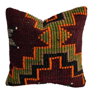"Vintage Handmade Kilim Rug Pillow Cover Turkish Sham Throw- 16"" X 16"" For Sale"