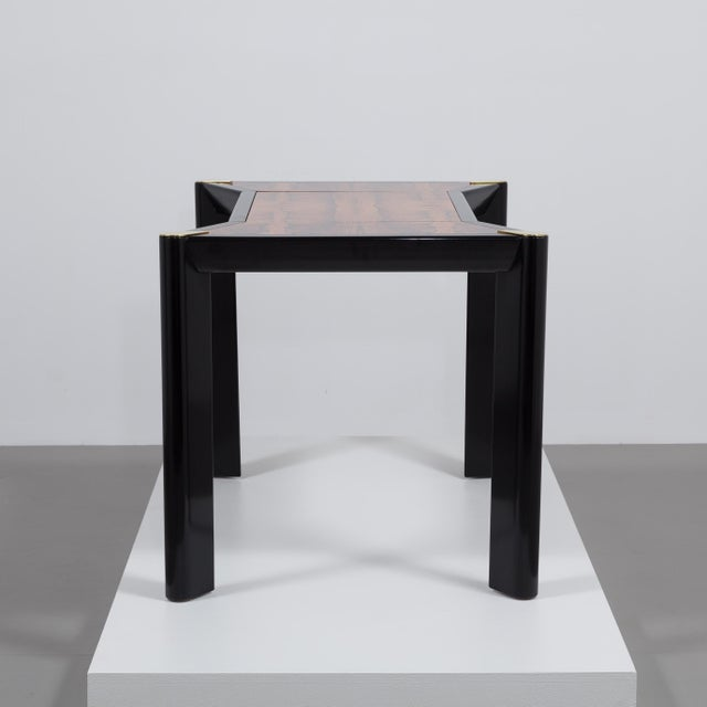 An Italian Ebonised Wood and Brass Games Table 1950s - Image 5 of 10