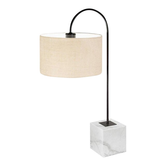 Black Bronze Lamp With Natural Stone Base For Sale