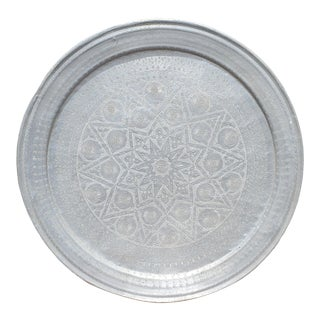 Moroccan Metal Tray/Table Top - Silver For Sale