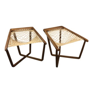 Vintage Mid Century Oak Rope Sling X Base Lounge Chairs- A Pair For Sale