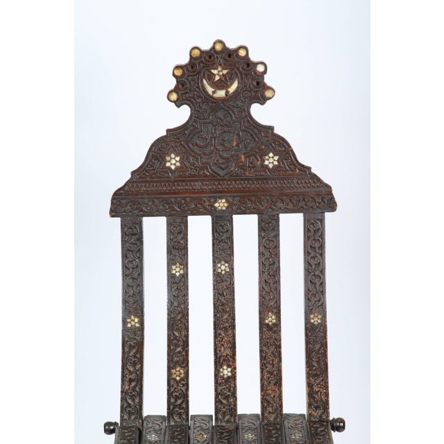 19th Century Antique Syrian Wood Inlaid Folding Chair For Sale In Los Angeles - Image 6 of 9