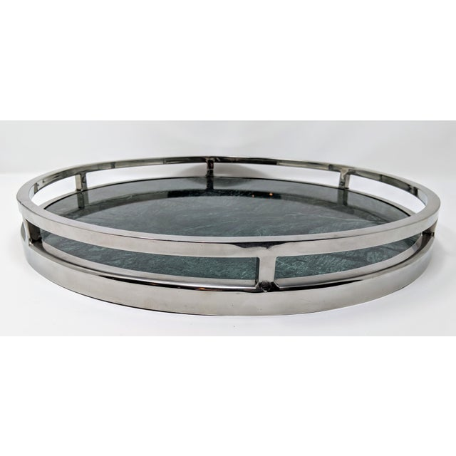 Green Jonathan Adler Inspired Green Marble and Chrome Serving Tray For Sale - Image 8 of 10