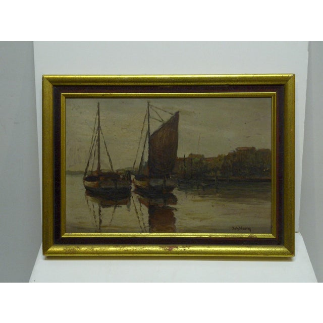 """Docked Boats"" Framed Painting on Board - Image 2 of 7"