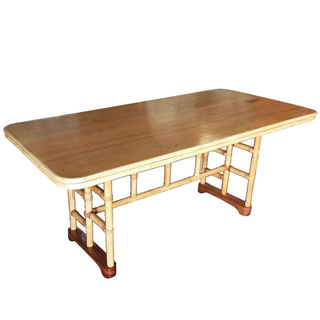 Camel Restored Mid-Century Rattan and Mahogany Dining Table With Skeleton Base For Sale - Image 8 of 8