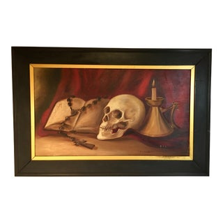 Antique Vanitas Style Still Life With Skull For Sale